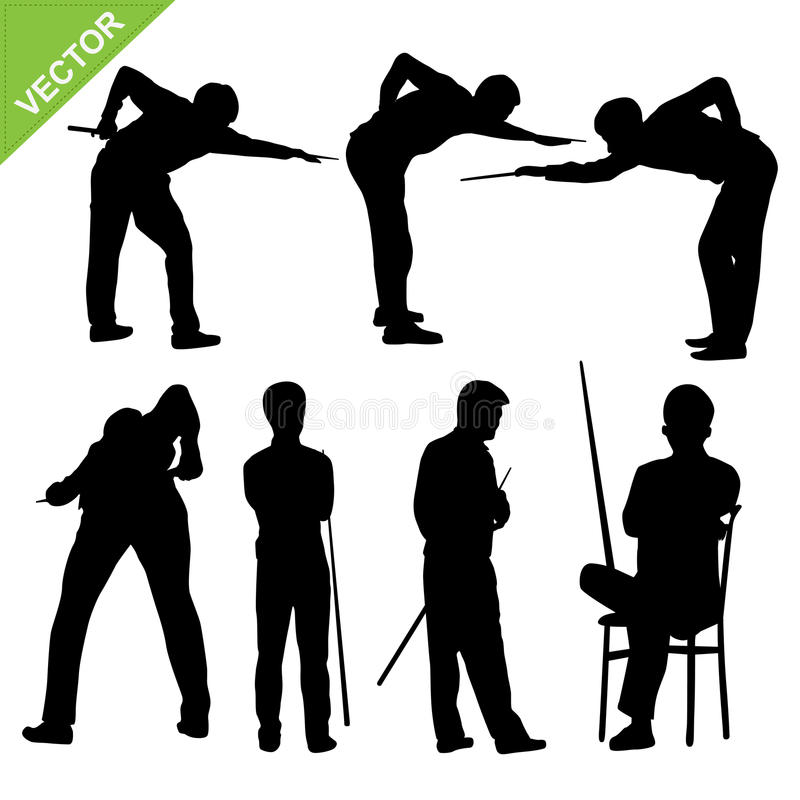 Snooker player silhouettes vector stock illustration