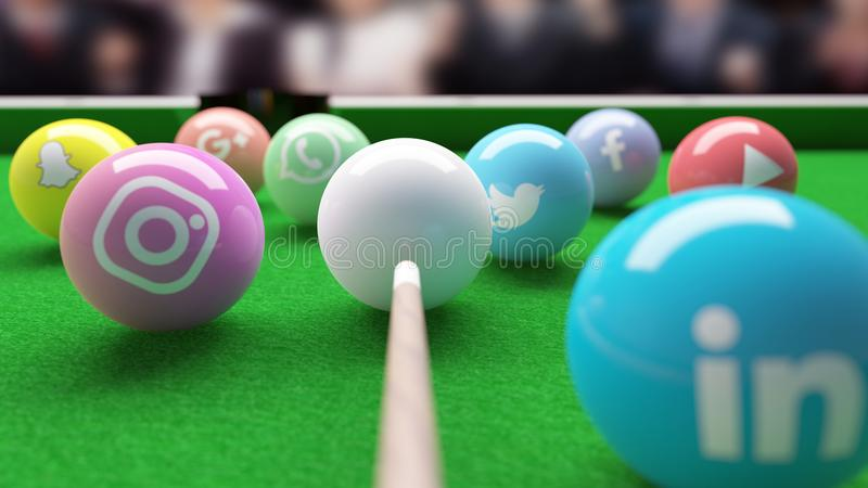 Snooker Pool Billard table with social networks balls. Facebook, Twitter, Whatsapp whatsup, linkedin, youtube, snapchat, google plus and instagram are snooker stock photo