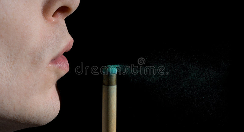 Snooker or Pool cue chalk dust royalty free stock photos