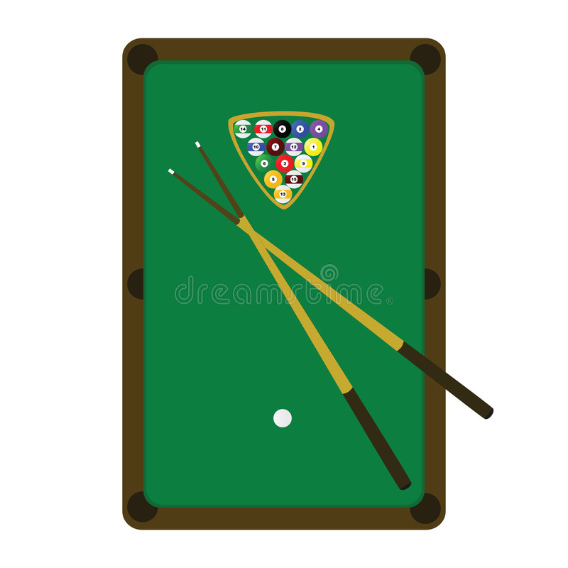 Snooker (pool) table royalty free illustration