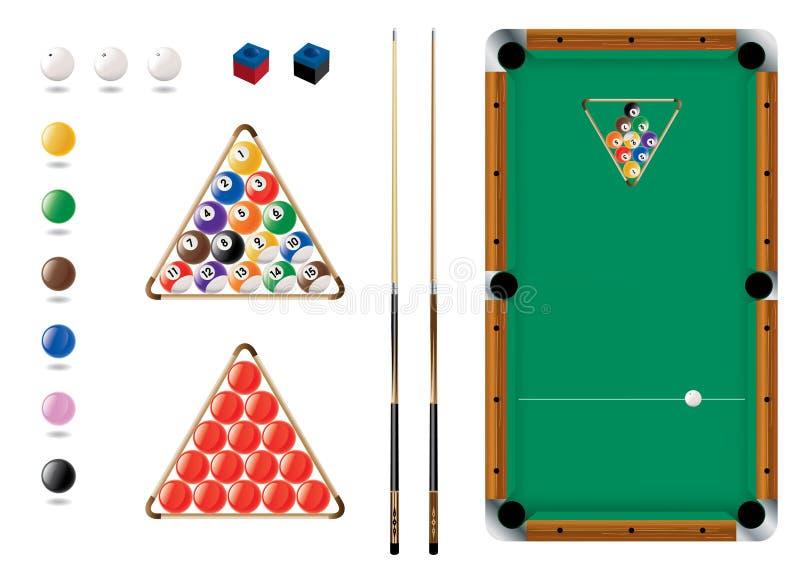 Snooker, raggruppamento, icone di sport royalty illustrazione gratis
