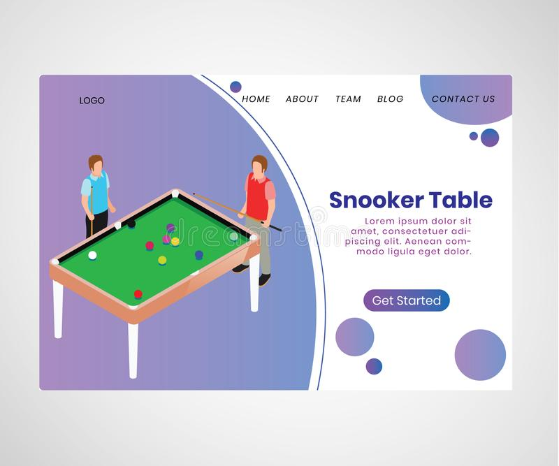 Snooker table website presentation Isometric Artwork Concept vector illustration