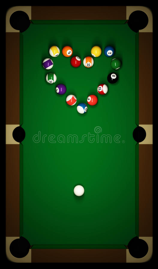 Free Snooker Table With Heart Stock Image - 13830351
