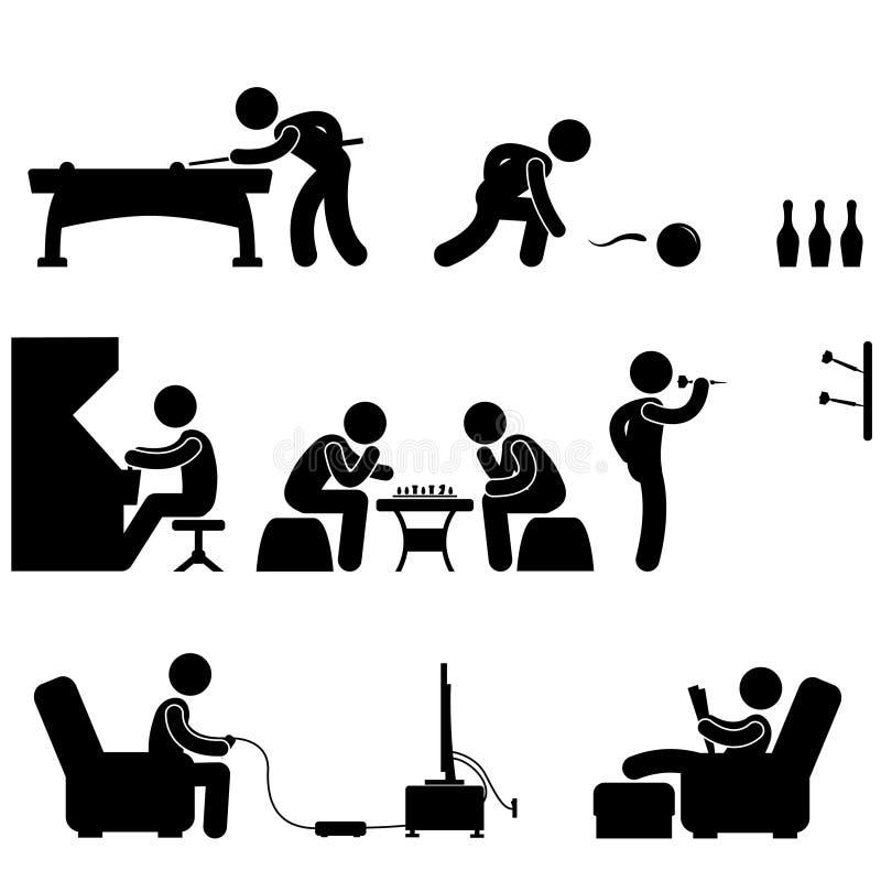 snooker vi för pöl för klubba för aktivitetsbowlingschack inomhus vektor illustrationer