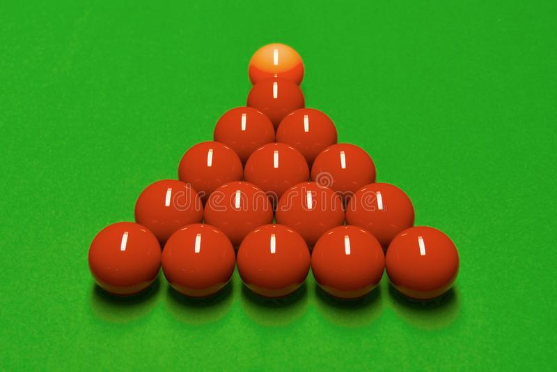 Snookertabell och bollar royaltyfri fotografi