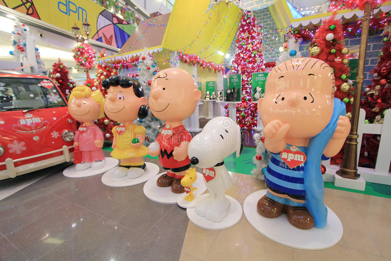 Snoopy Dekoration APM Weihnachtsin Hong Kong stockbilder