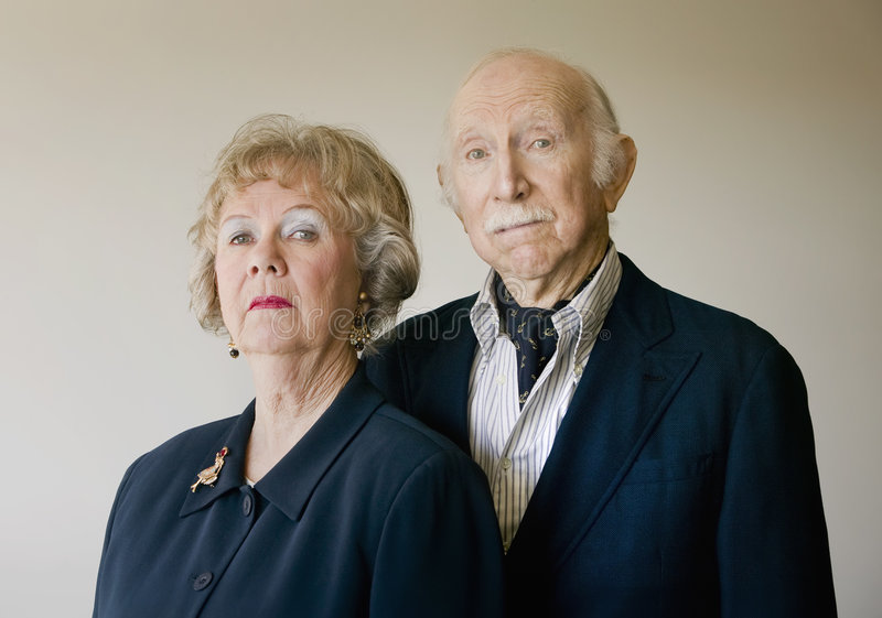 Snooty Senior Couple royalty free stock image