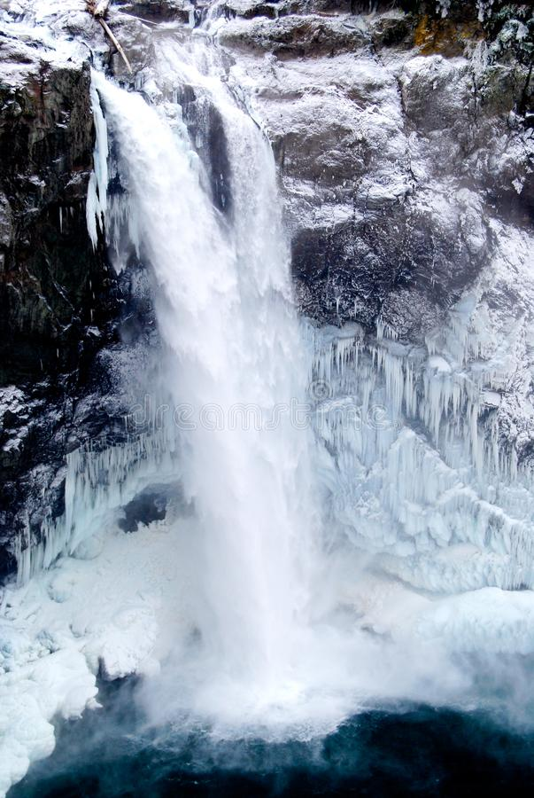Snoqualmie Falls Winter Ice Freeze Waterfall. Snoqualmie Falls is a 268-foot waterfall in the northwest United States, located east of Seattle on the Snoqualmie royalty free stock image