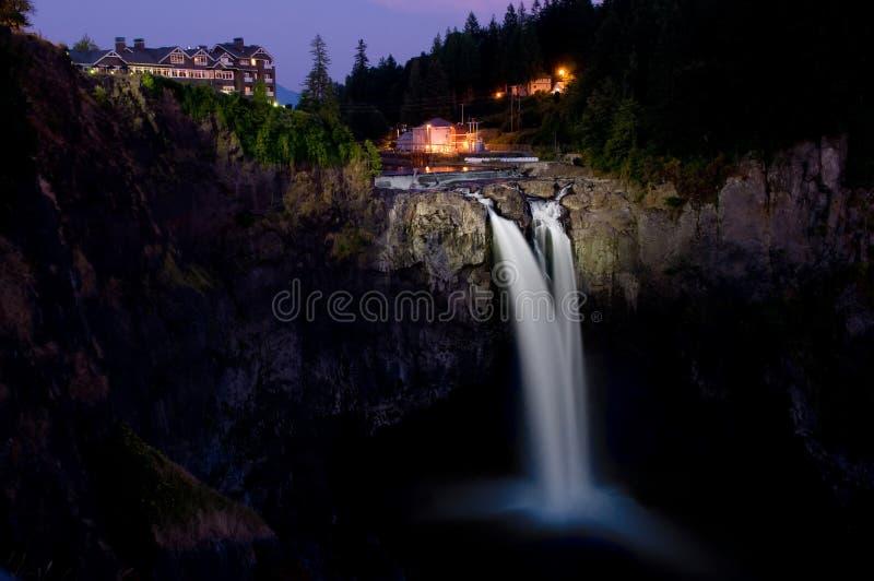 Snoqualmie Falls at Night stock photo