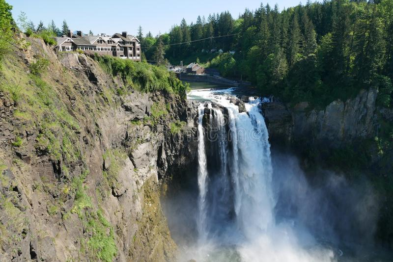 The Snoqualmie Falls in Northwest United States, located east of Seattle on the Snoqualmie River between Snoqualmie and Fall City. Washington royalty free stock image