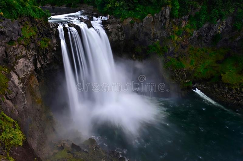 Scenic waterfall, rocks and forest. Snoqualmie Falls is one of Washington state's most popular scenic attractions. Seattle. North Bend. WA. United States stock image