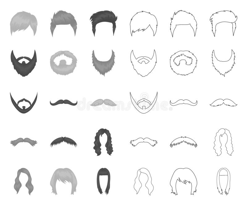 Snor en baard, kapsels mono, overzichtspictogrammen in vastgestelde inzameling voor ontwerp De voorraadweb van het modieus kapsel royalty-vrije illustratie