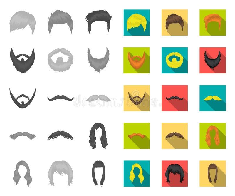 Snor en baard, kapsels mono, vlakke pictogrammen in vastgestelde inzameling voor ontwerp De voorraadweb van het modieus kapsel ve royalty-vrije illustratie
