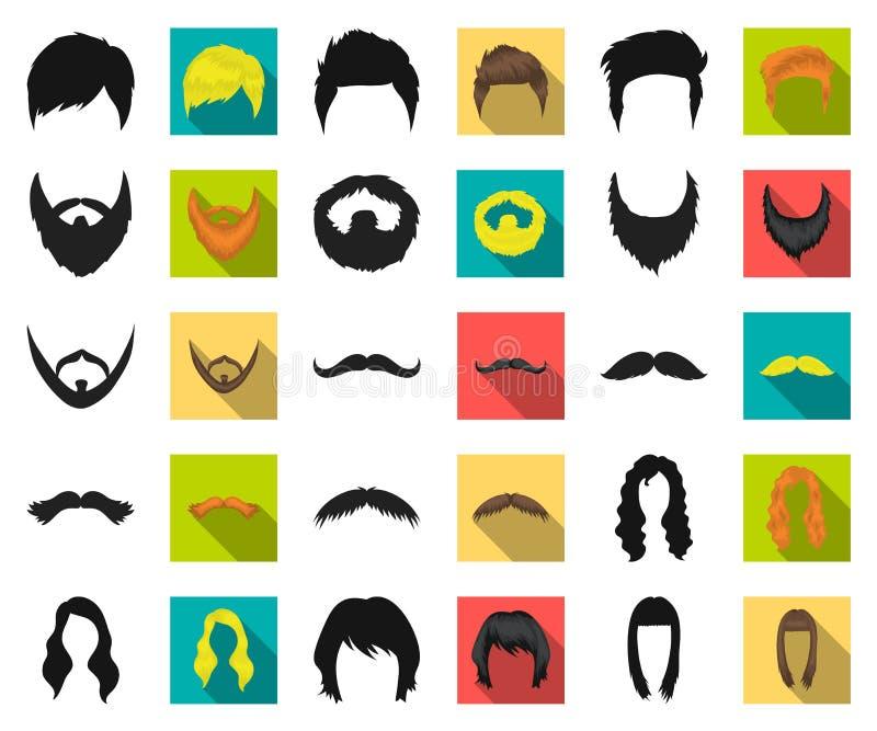 Snor en baard, kapsels zwarte, vlakke pictogrammen in vastgestelde inzameling voor ontwerp De voorraadweb van het modieus kapsel  royalty-vrije illustratie