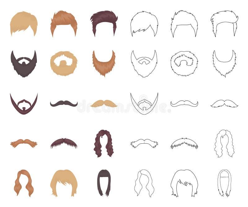 Snor en baard, kapselsbeeldverhaal, overzichtspictogrammen in vastgestelde inzameling voor ontwerp Voorraad van het modieus kapse vector illustratie