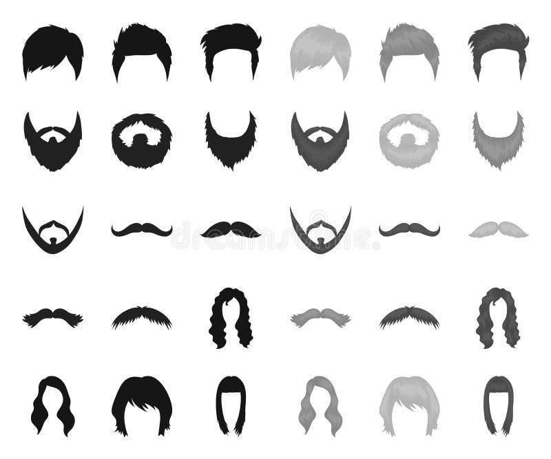 Snor en baard, kapselszwarte monopictogrammen in vastgestelde inzameling voor ontwerp De voorraadweb van het modieus kapsel vecto vector illustratie