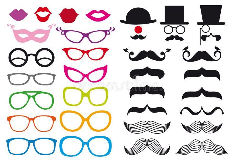 Snor en bril, vectorreeks royalty-vrije illustratie