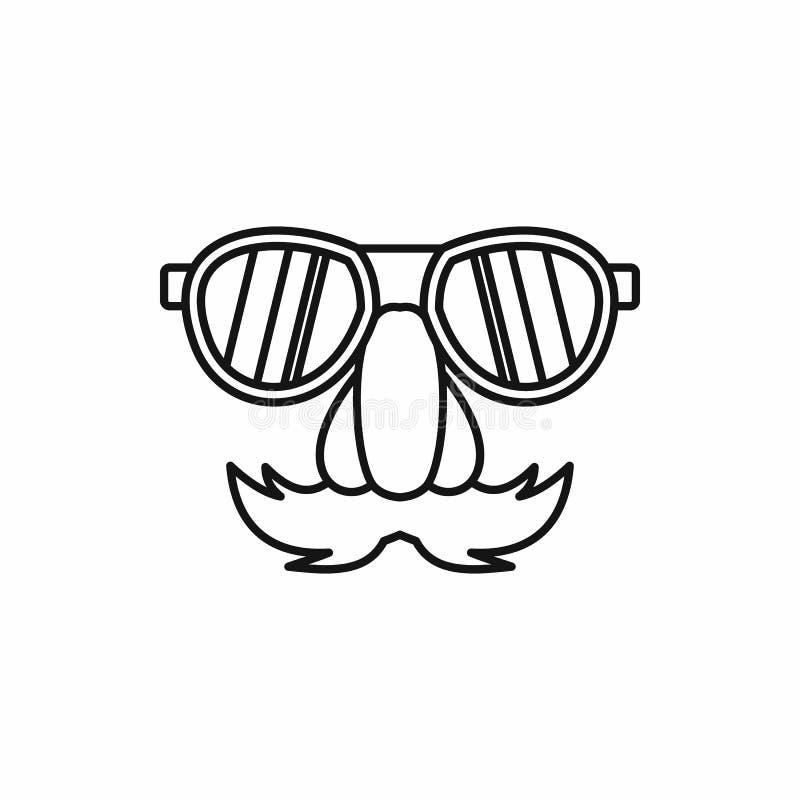 Snor van de komedie de valse neus, wenkbrauwen, glazenpictogram stock illustratie