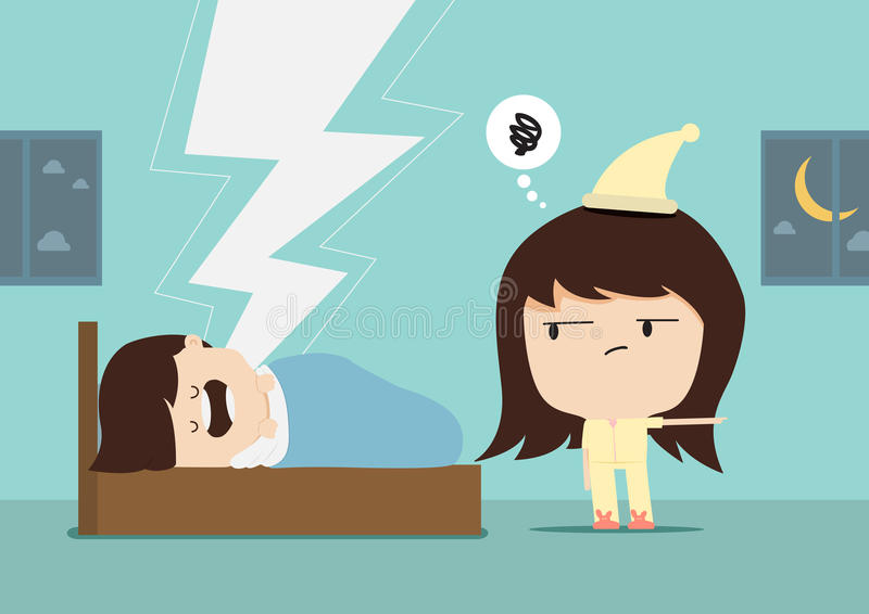 Snore man and woman angry. For a sound of snoring vector illustration