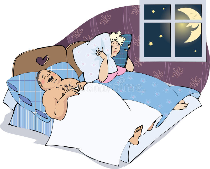 Snoring man with wife vector illustration