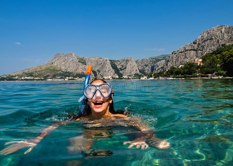 Snorkel bij Adriatische overzees royalty-vrije stock afbeeldingen