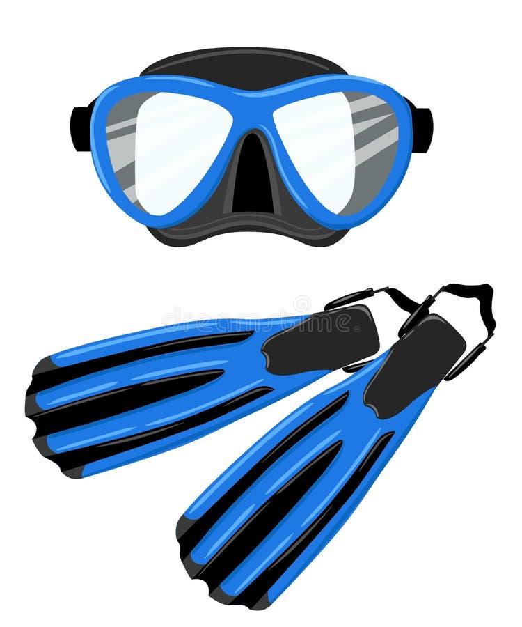 Snorkel, flippers odizolowywający na białym tle Błękitni pikowania maska, snorkel i para popielaci flippers, Żebra, akwalung mask ilustracja wektor