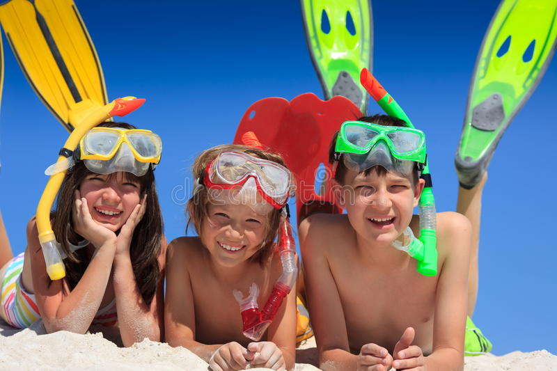 Download Snorkel kids on beach stock photo. Image of beach, friends - 13760456