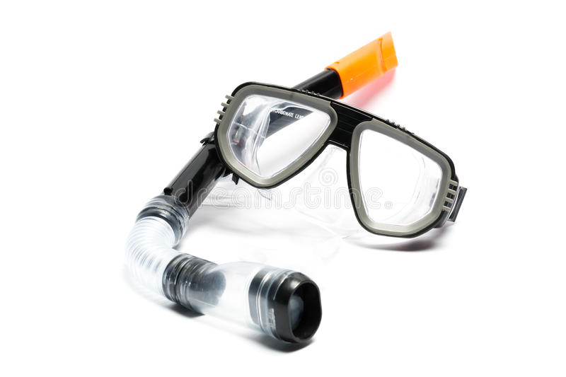 Snorkel. Mask and snorkel on a white background stock images
