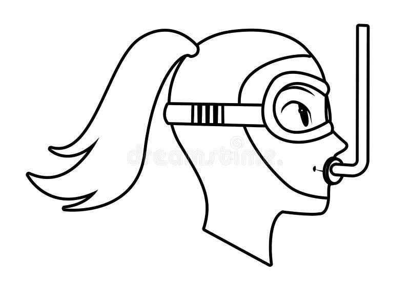 Snorkel pikowania avatar postać z kreskówki czarny i biały ilustracja wektor