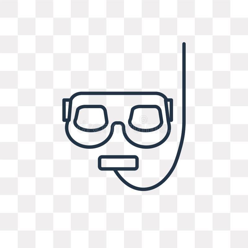 Snorkel wektorowa ikona odizolowywająca na przejrzystym tle, liniowy S ilustracja wektor