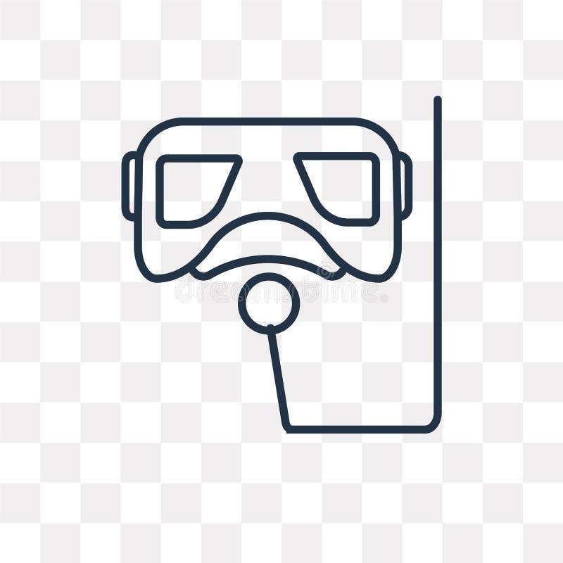Snorkel wektorowa ikona odizolowywająca na przejrzystym tle, liniowy S ilustracji