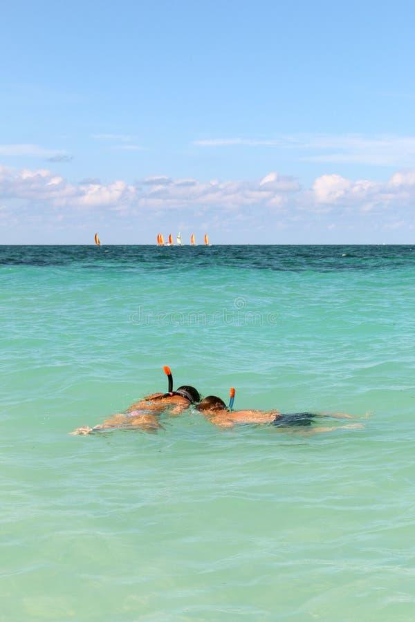 Snorkelend op de Atlantische kust, Cuba, Varadero stock afbeeldingen
