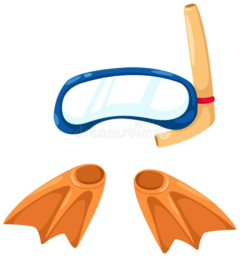 Snorkelende apparatuur en vinnen vector illustratie