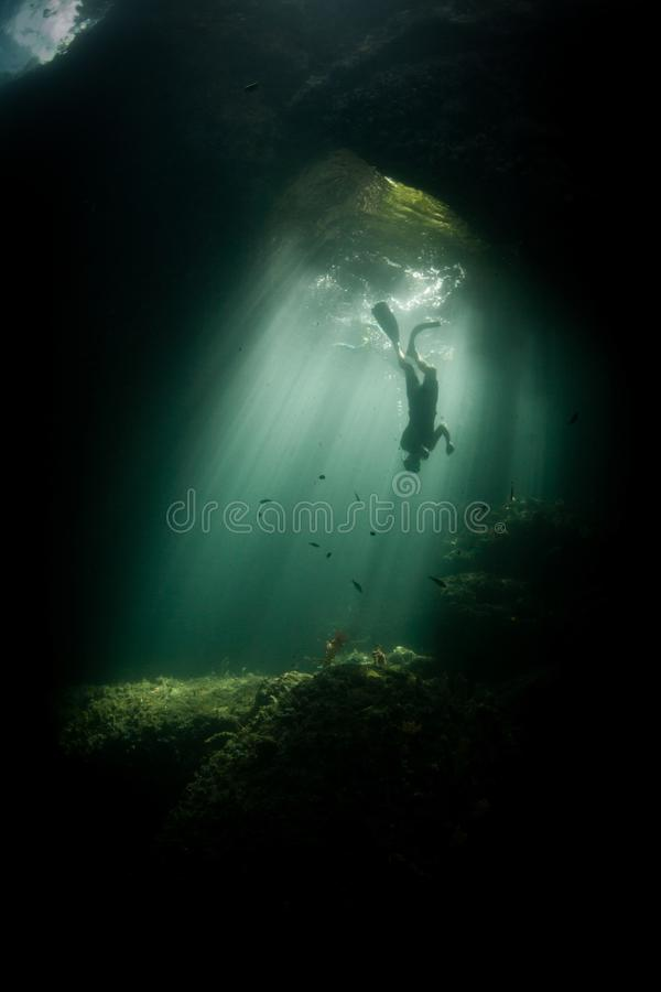 Snorkeler and Sunlight in Dark Raja Ampat Cavern. Sunlight filters through an underwater cavern in Raja Ampat. This tropical region is known as the heart of the stock photos
