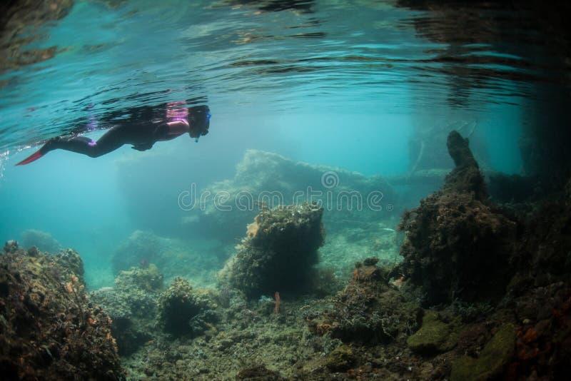Snorkeler undersökande kanal arkivbild
