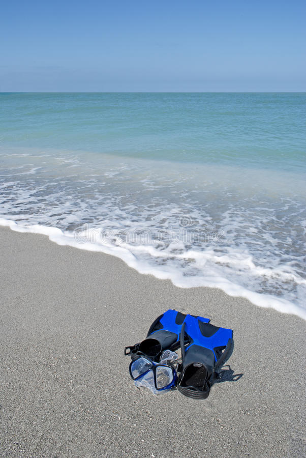 Snorkelgang auf schönem Strand in Captiva Florida lizenzfreies stockbild