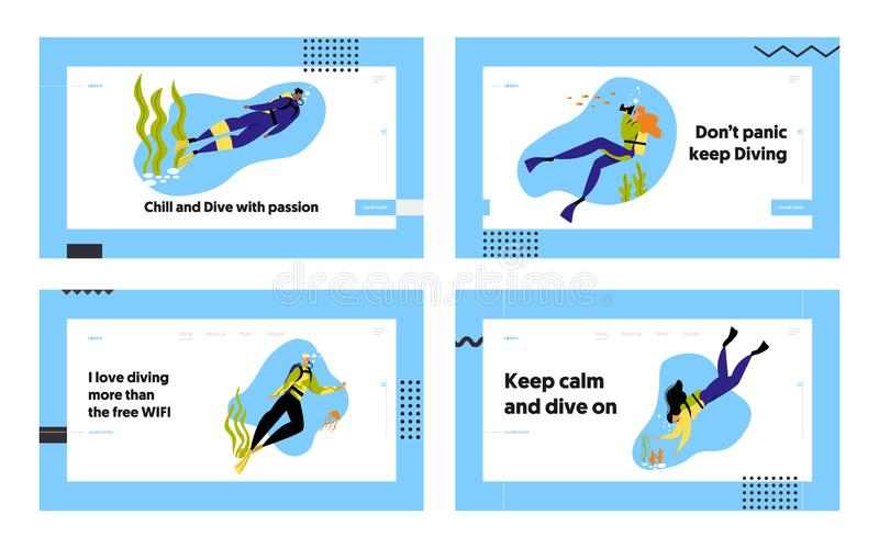 Snorkeling Characters Underwater Fun Activities Website Landing Page Set, Hobby, Swimming, Photographing, Scuba. Diving with Spear Fishing Equipment Web Page stock illustration