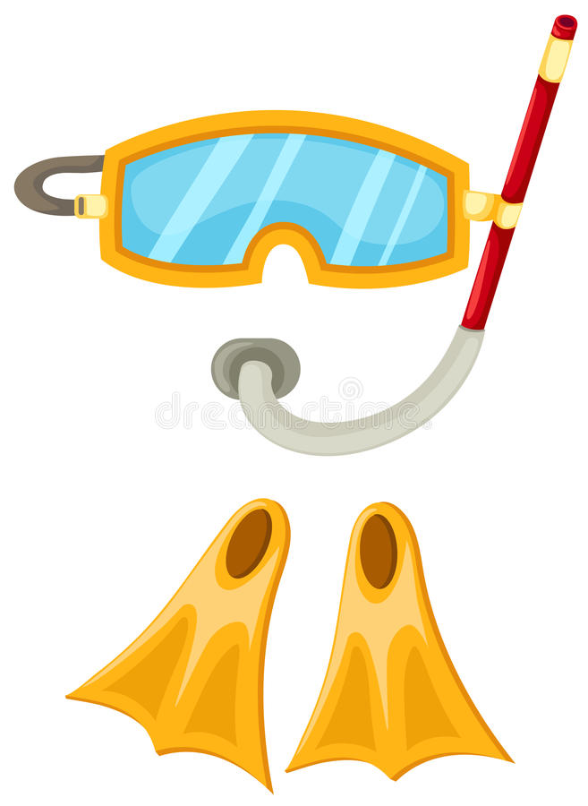 Snorkeling equipment and flippers vector illustration