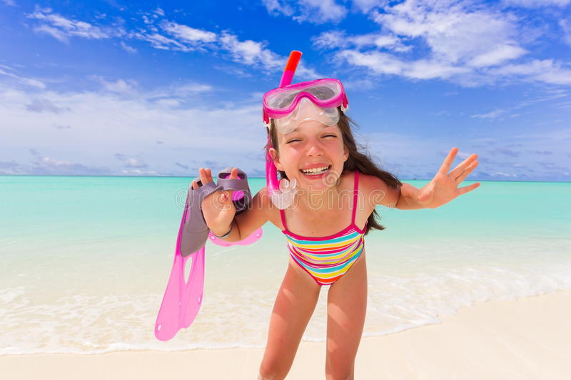 Download Snorkeling girl on beach stock photo. Image of colourful - 16579172