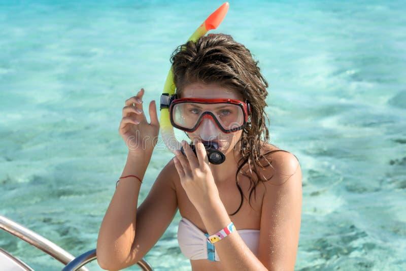 Snorkeling kobieta portret obraz royalty free