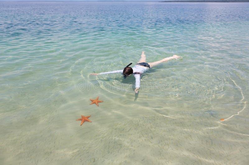 snorkeling kvinna arkivfoto