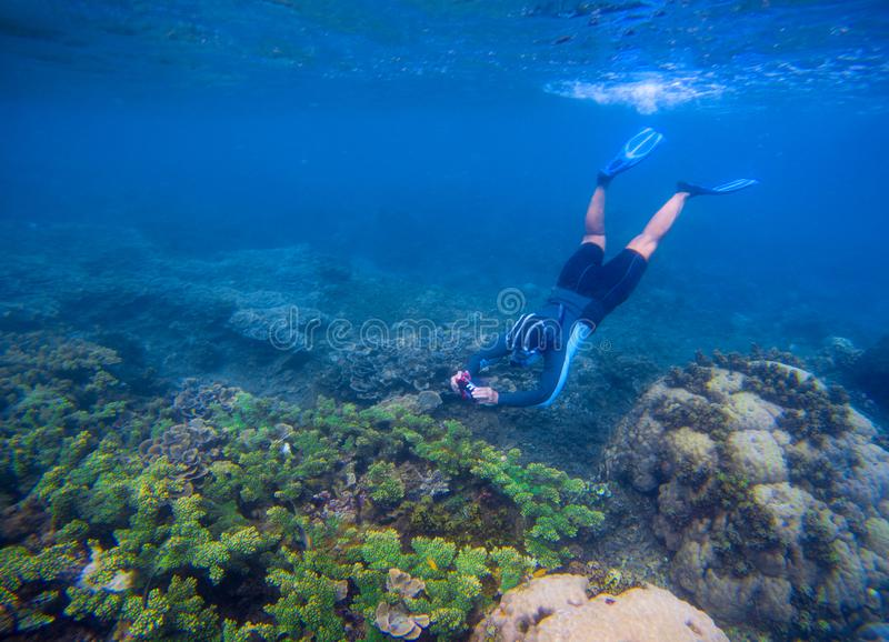 Snorkeling man in snorkeling mask. Photography underwater. stock photos