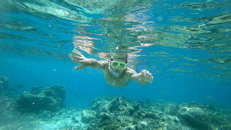 Snorkeling the man under water with a mask the Indian Ocean royalty free stock photos