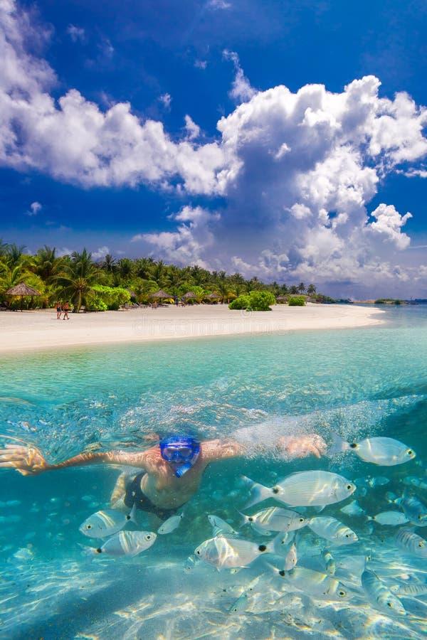 Snorkeling na tropikalnej wyspie z piaskowatej plaży i overwater bungalowami, Maldives fotografia royalty free