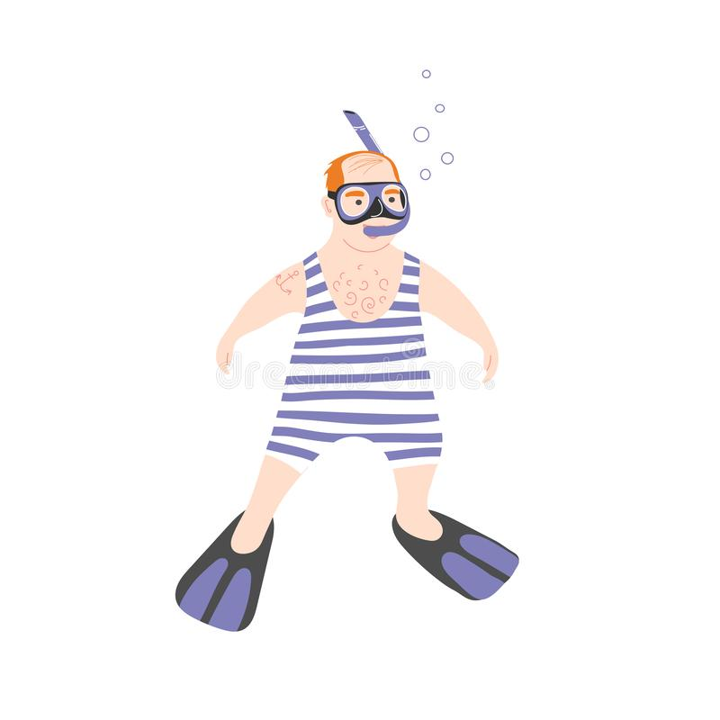 Snorkeling tour. Swimming in sea masked and snorkel. Funny character plump bald sailor vector illustration