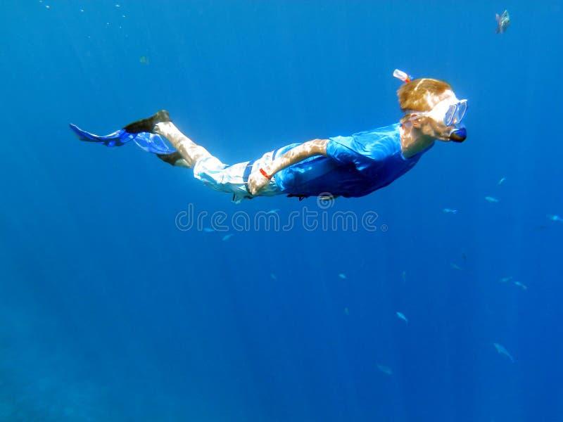 Snorkeling underwater royalty free stock photos