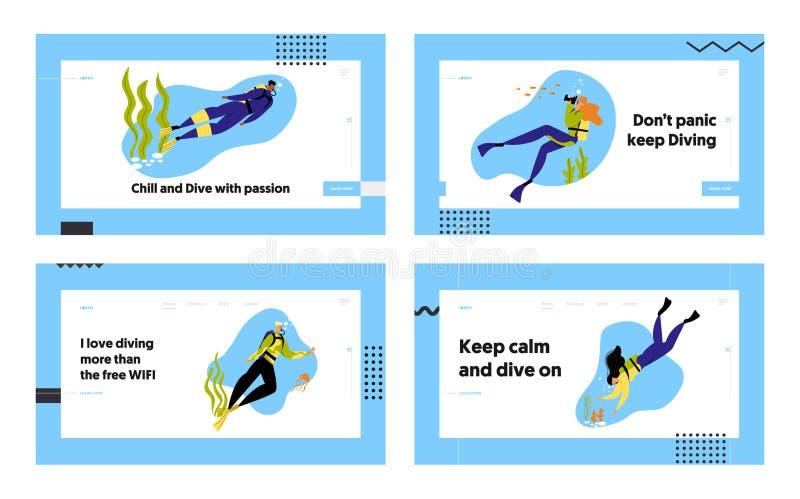 Snorkeling van tekens Onderwater Fun Activiteiten Website Landing Page Set, Hobby, Zwemmen, Foto's, Scuba stock illustratie