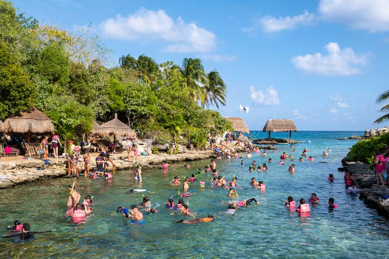 Snorkeling at XCaret park in Mexico royalty free stock photography