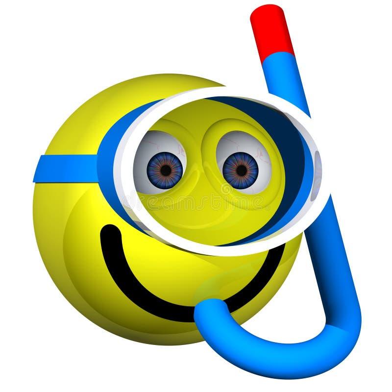 Snorkeller de sorriso ilustração do vetor