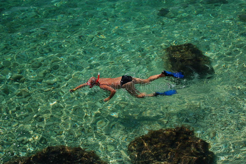 Snorkelling in Croatia stock photos